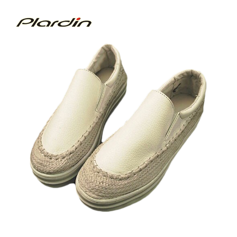2015 Spring New Heavy-Bottomed Lazy Women Shoes Thick Crust Muffin Straw Fisherman Cheap Shoes PU Surface Shoes Woman Flats<br><br>Aliexpress