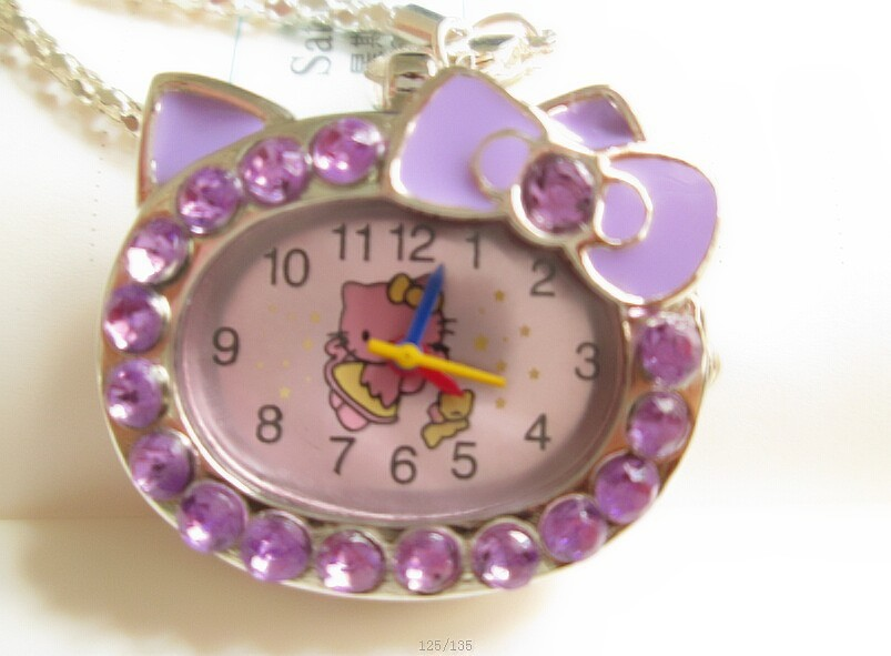 1pcs hot fashion Cat Face with Pink Diamond Hello Kitty Pocket Watch for gift(China (Mainland))