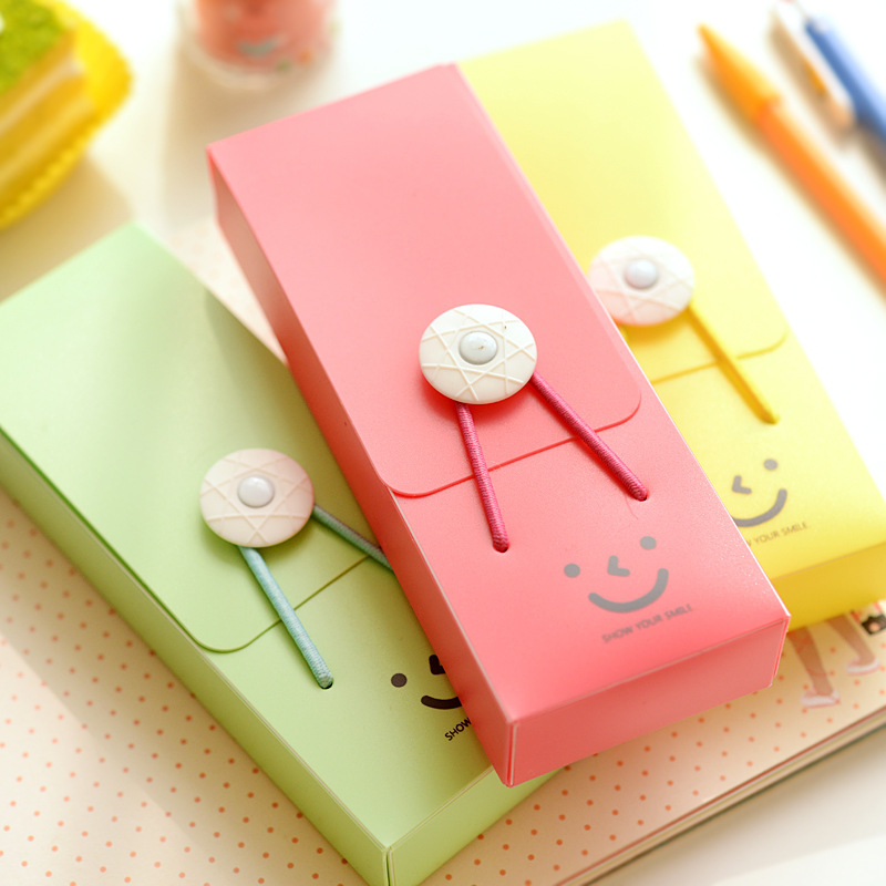 A713017 Elastic pencil case Korea's creative writing case Smile tower buckle stationery pen bag Wholesale can be customized(China (Mainland))