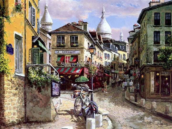 2015 european town paris street home decor oil painting