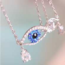 Butler & Wilson Teardrop gem classic necklace all-match high quality accessories Blue eyes full rhinestone necklace(China (Mainland))