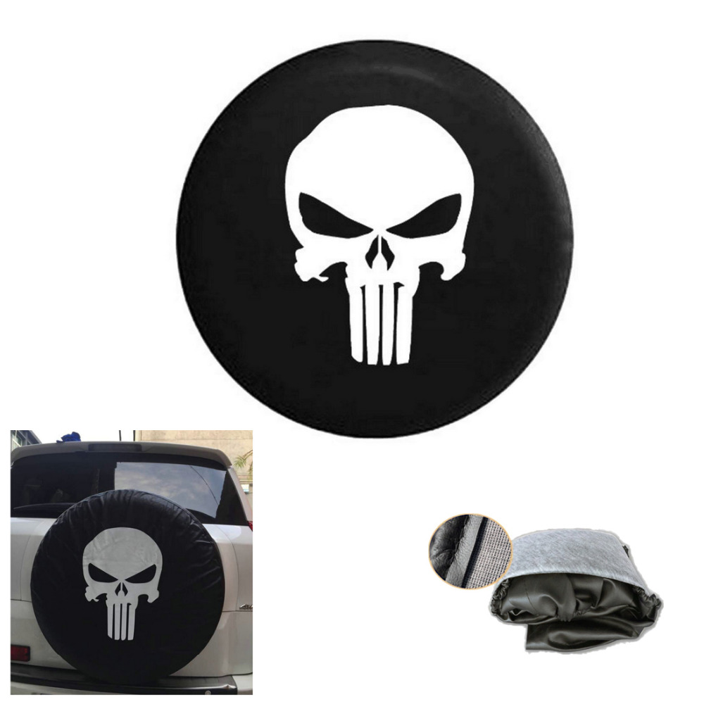 1Pcs Black Spare Tire Cover With Punisher Skull Logo For Jeep Wrangler YJ TJ JK JKU 2007-2017 2/4 DR 15/16/17 Inch(China (Mainland))
