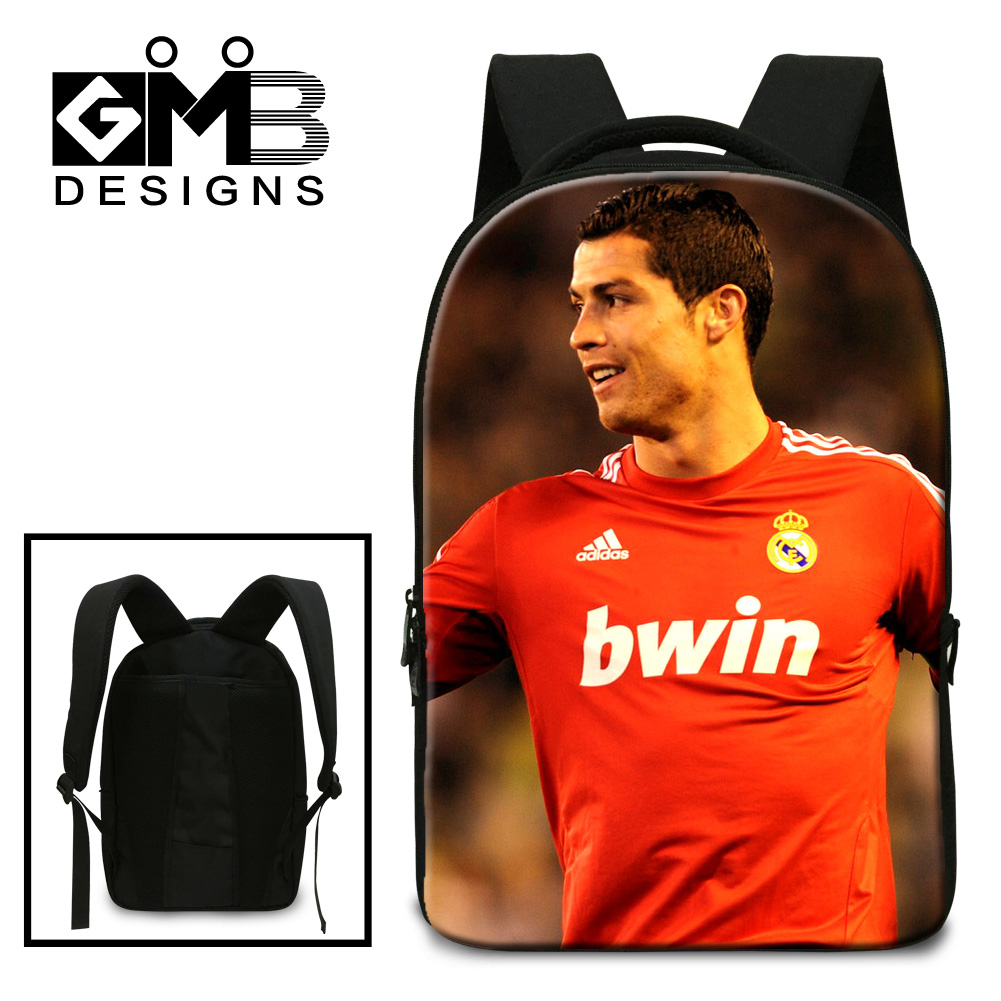 2016 hot sale Cristiano Ronaldo backpack high quality case for laptop 15.6 fancy tablet pc case laptop wholesale lots sport bags(China (Mainland))