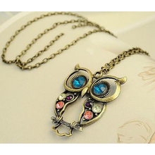 Exquisite Rhinestone Necklace Wholesale Fashion Thin Chain Collar Owl Necklace Jewelry For Women GN2015026(China (Mainland))
