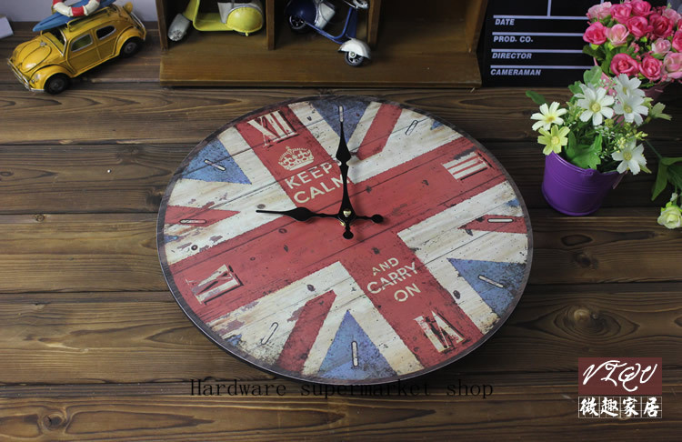 1 picece retro vintage rustic wooden home decorative British flag wall clock,antique clock, clock designed on the wall
