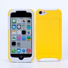 Fast Free Shipping 2 in 1 Hybrid Silicon Phone Cases for iPhone 5c Cover with Kickstand Card Slot Cellphone Shell Skin