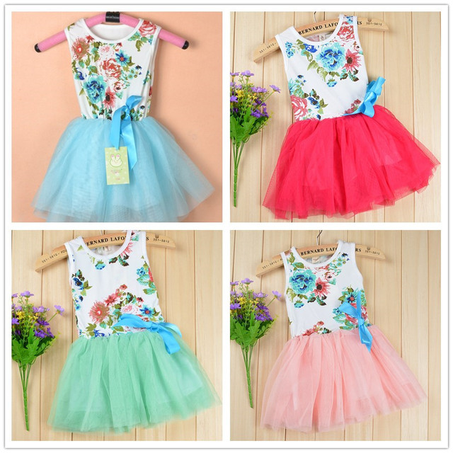 Sleeveless baby girls tutu dress with ribbons beautiful summer toddler floral dancing dress for infant children's dresses kids