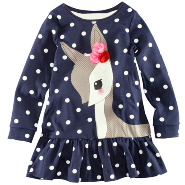 Princess Kid Baby Girls Long Sleeve Lace One-piece Dots Deer Cotton(China (Mainland))