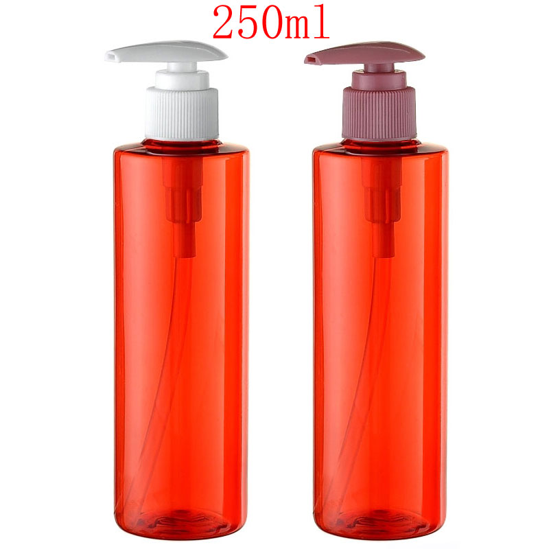 250ml empty red lotion cream pump plastic bottles container, 250cc shampoo liquid soap dispenser bottles , cosmetic packaging от Aliexpress INT