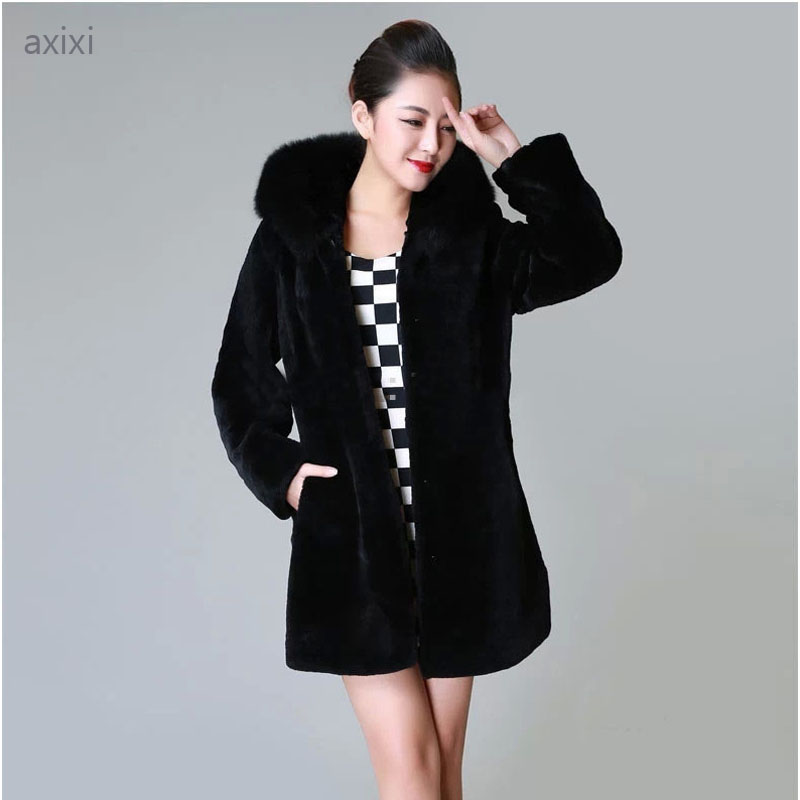Faux Mink Fur Coat For Women New 2015 Fashion Brand Winter Warm Luxury Black Outwear Faux Fur Collar Womens ClothingОдежда и ак�е��уары<br><br><br>Aliexpress