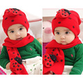 SCYL Cute Baby Winter accessories cotton knitted hat scarf sets baby Boy Girls unisex Ladybug animals
