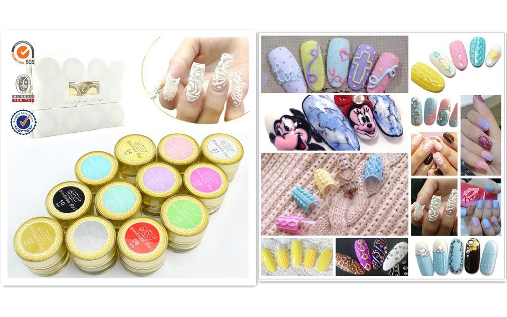 12 PCS 8ML 3D 4D GDCOCO Emboss UV Gel LED Soak Off Nail Art false tips Tips extension Nails Care(China (Mainland))