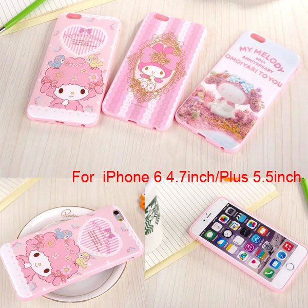 Free Shipping Cute Hello kitty My Melody Bow case Soft Cartoon TPU cover for iphone 6 6 plus 4.7 5.5inch(China (Mainland))