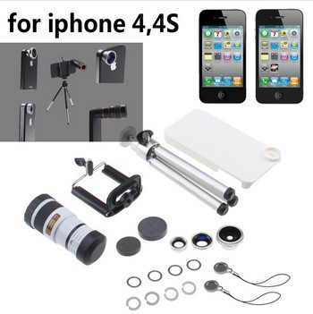 Free Shipping 4-in-1 Camera Lens Kit with 8X White Telephoto Lens,Fish Eye,Wide Angle+Tripod+ Hard Case for iPhone 4 4s White
