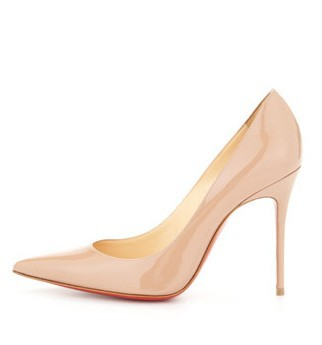 free shipping 2014 Spring Decollete Patent Leather Pump Nude shoes for women 12cm(China (Mainland))