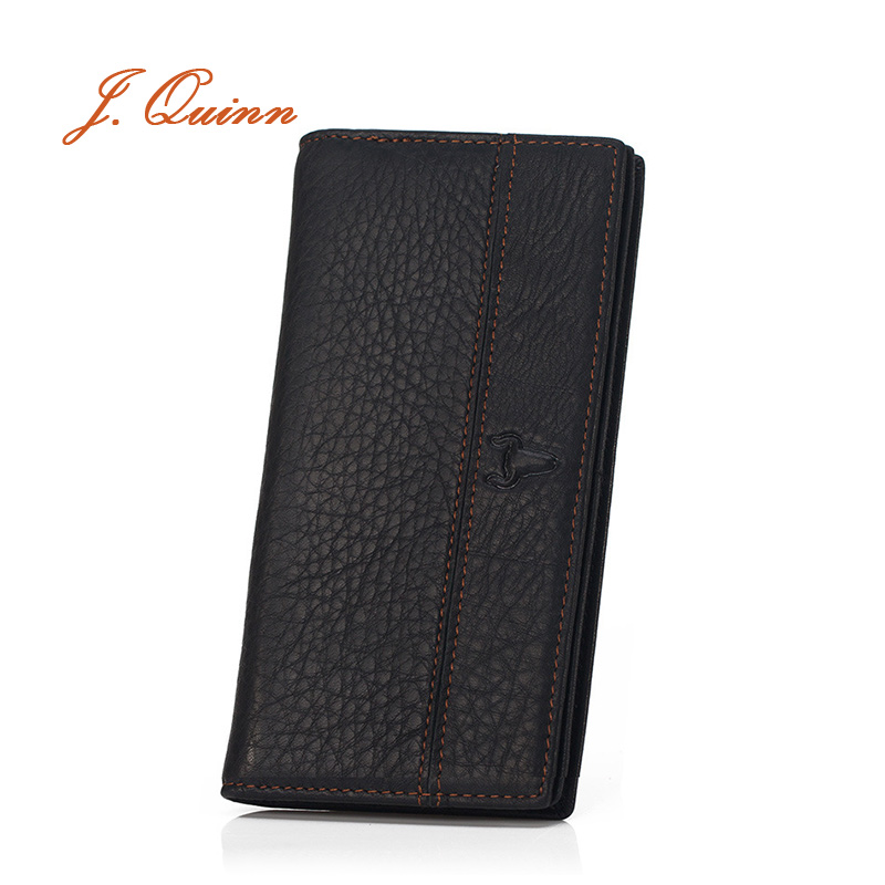 J.Quinn Portfolio Man for Boss Zip Wallet Long Black Genuine Leather Men's Card Wallets Soft Thin Business Designer Purse Men(China (Mainland))