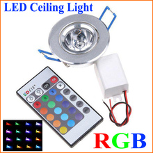 Factory Wholesale 10PCS AC85V-265V 3W LED RGB Ceiling Light 220V Led Spot Down Light with Remote Controller Wall Lamp Lighting(China (Mainland))