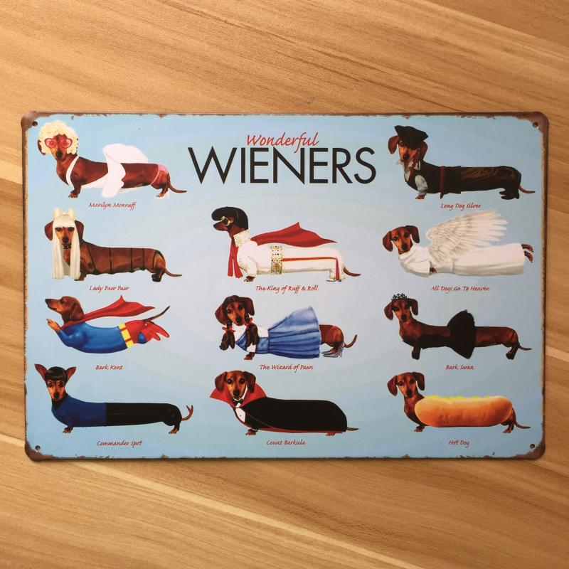 Buy free shipping wieners sausage dog for Plaque metal cuisine