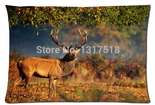 Best Gift Pillow Covers, big deer under tree Pillow cover 20x30 Inch(China (Mainland))