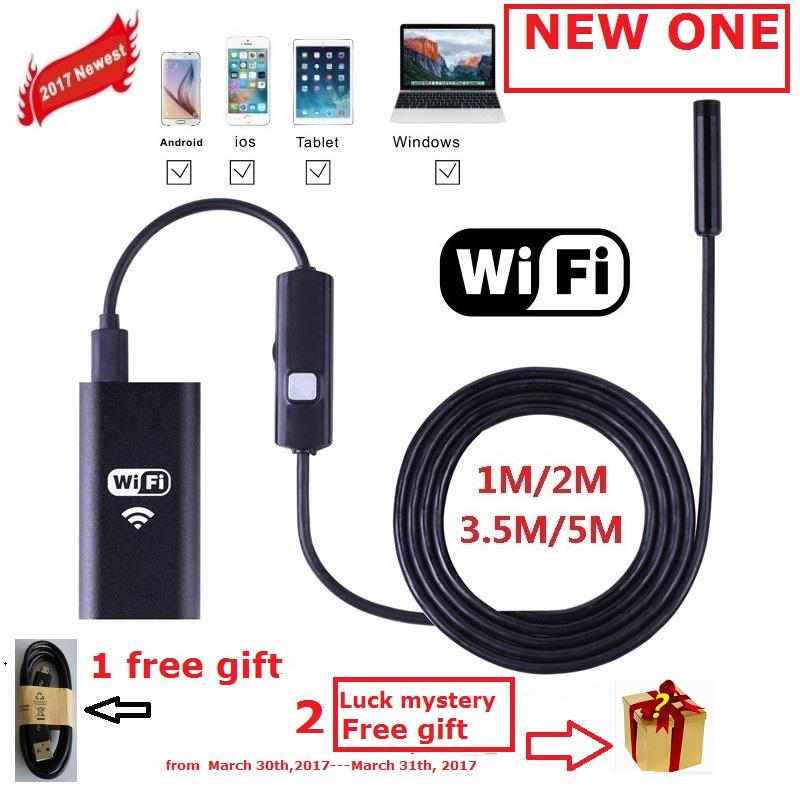 Zjuxin WiFi Endoscope 8mm Lens 1M 2M 3.5M 5M cable iphone endoscope camera IOS android with 6 led mini wifi endoscope(China (Mainland))