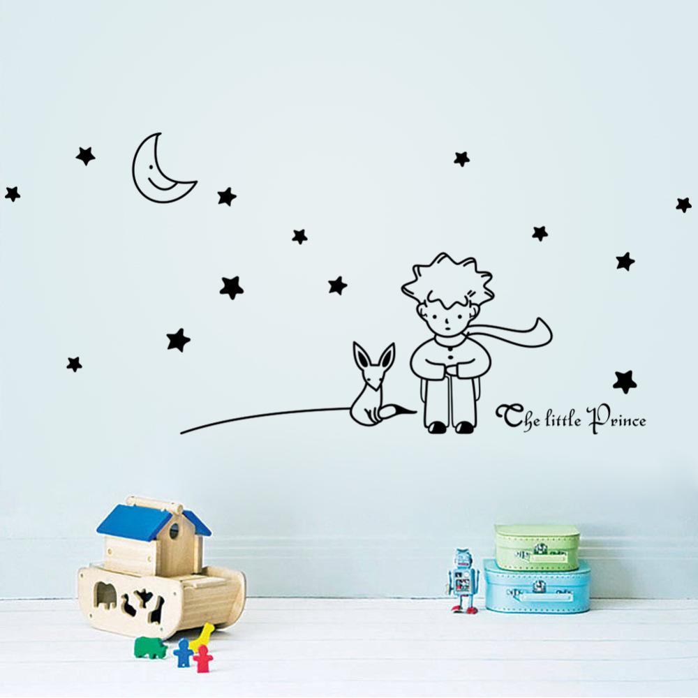 96*42cm Stars Moon The Little Prince Fox Graphic Wall Vinyl Children Fairy Tale Sticker decals for kids room nursey room decor(China (Mainland))