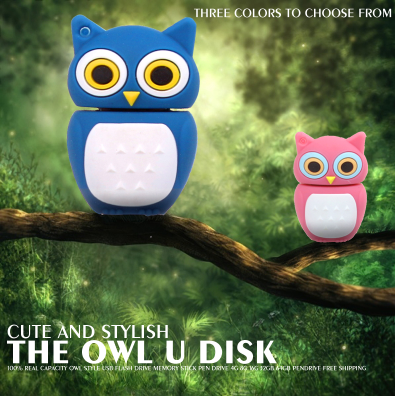 2014 usb flash drive Model usb2.0 pen drive memory flash stick New Wholesales Cartoon Pink/blue Owls pen drive/disk freeshipping(China (Mainland))