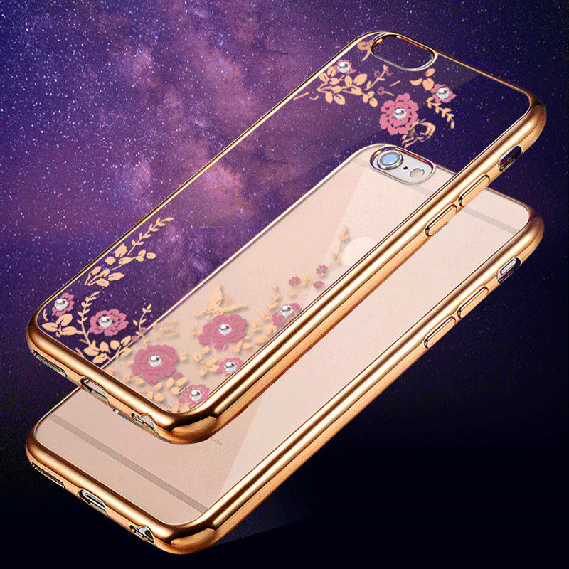 Luxury Clear Bling Diamond Crystal Flower Plating TPU Soft Case For Apple iPhone 6s 6 plus / 6S / 5s 5 rubber Phone Covers Cases(China (Mainland))
