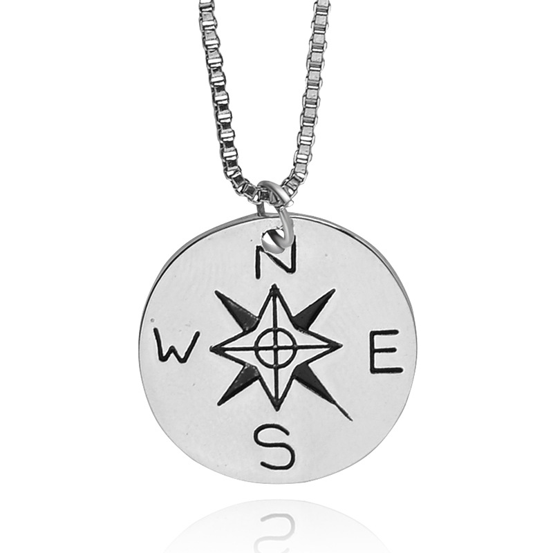 """""""NOT ALL WHO WANDER ARE LOST"""" Find Your True North And South Direction Compasses Necklace Alloy Jewelry Men Women Jewelry(China (Mainland))"""