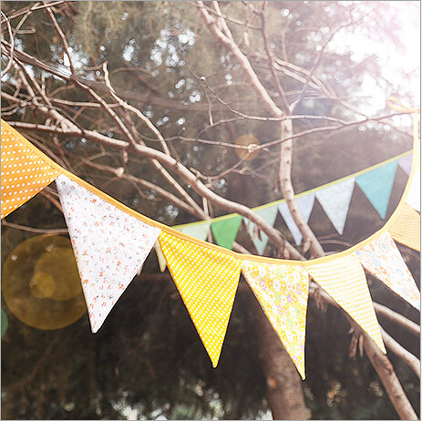 Colorful Double side Fabric Bunting Banner baby shower Tent candy bar decoration Home Room Decoration photo props flags(China (Mainland))