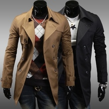 Free delivery of 2013 new styles Men's double breasted simplicity in the long coat city foreign trade solid black label(China (Mainland))