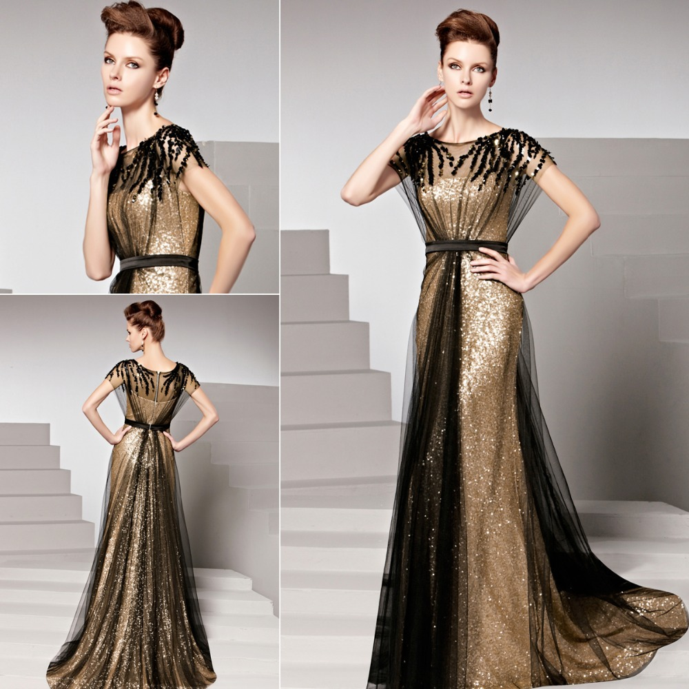 Coniefox 81516 Gold robe de soiree Sequined Formal Gown Dresses Women Dress Evening Elegant Plus Size Long Evening Dresses 2015(China (Mainland))