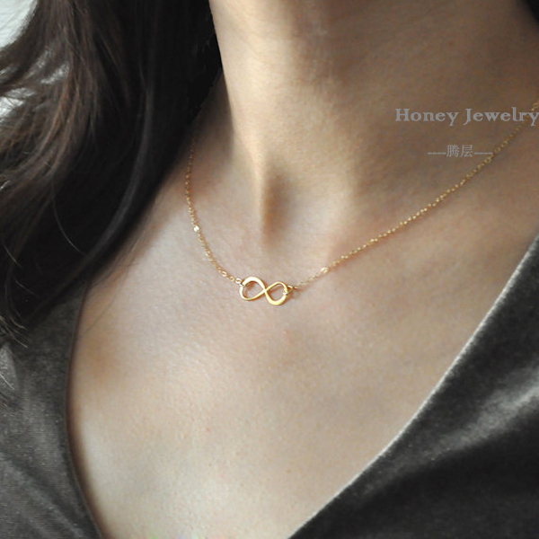 summer jewelry infinity charm gold plate chain necklace women fashion necklace colares femininos 4140(China (Mainland))