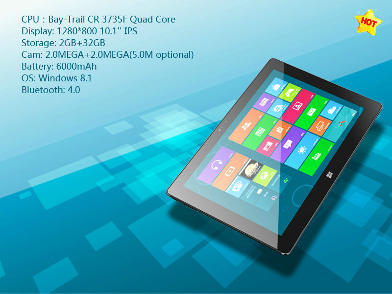 Aoson R18 10 inch Tablet PC Windows 8 1 Quad Core Tablets with Bluetooth Keyboard Leather