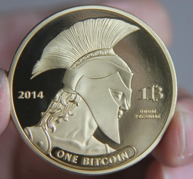 2014 TITAN One Physical Bitcoins GOLD Plated Coins MEDAL USA US UK DOLLAR MONEY DIGITAL LITECOIN okcoin gold bar MARKS EUROS(China (Mainland))
