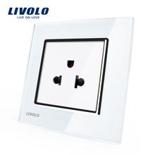 Envío Libre, Livolo Toma de Corriente Estándar de EE. UU., Panel de Cristal Cristal blanco, 110 ~ 250 V 16A de La Pared Toma de Corriente, VL-C7C1US-11