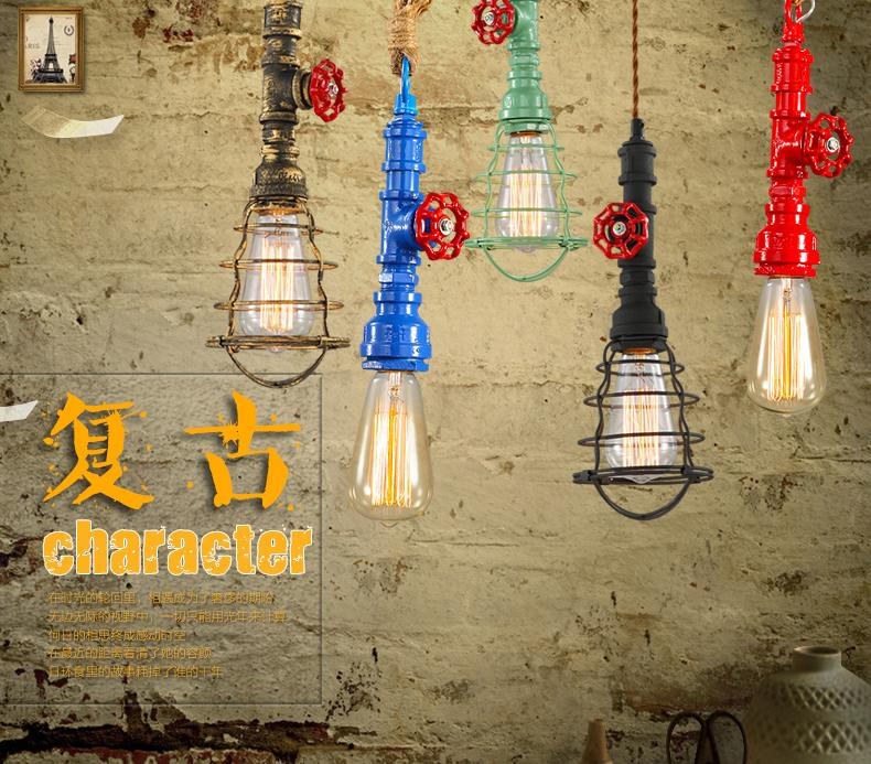 Loft American retro pendant lamp industrial style, creative personality, single head restaurant, bar, pipe, ceiling lamp<br><br>Aliexpress