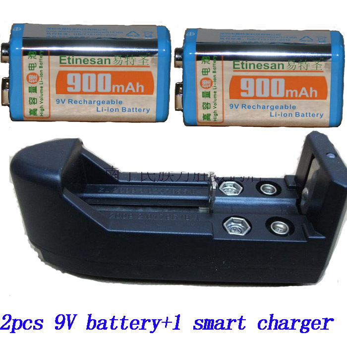 2X 9v battery super large capacity ni-h 900mah rechargeable battery+ 1 smart charger(China (Mainland))
