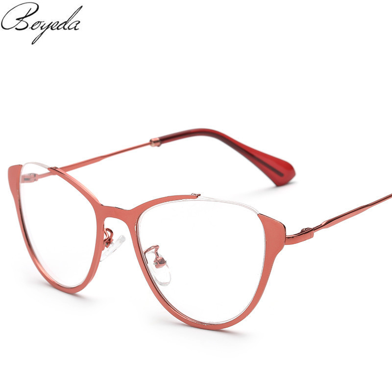 2016 Brand Fashion Cat Eye Glasses Retro Vintage Metal Optical Frame Reading Glasses Men Women Myopia Eyeglasses Frame oculos(China (Mainland))