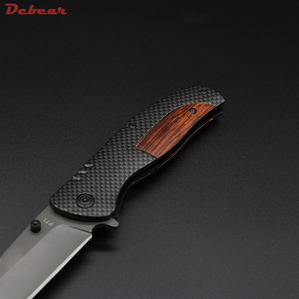 Buy Dcbear High Quality Tough Folding Knife 3CR13 Blade Steel+wood Handle Outdoor Tops Knife Multi Tool Tactical Survival Knives cheap