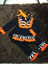 Halloween clothes Fall suit black/oragne stripe boutique clothing pant long sleeves sets with matching headband and necklace set(China (Mainland))