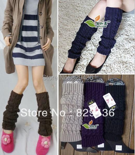 送料無料女性6色綿ニットかぎ針編みの冬と秋ファッションレッグウォーマーレッグカバー