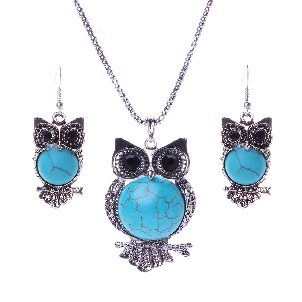 Jewelry Sets Turquoise Crystal 18K White Silver Plated Necklace And Earrings Owl Choker For Women Vintage(China (Mainland))