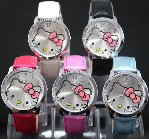 8 colors 2015 Hello Kitty  Girls Children Watch Cartoon Cute Hour Quartz Watch Leather Women Dress Kids Watches reloj mujer(China (Mainland))