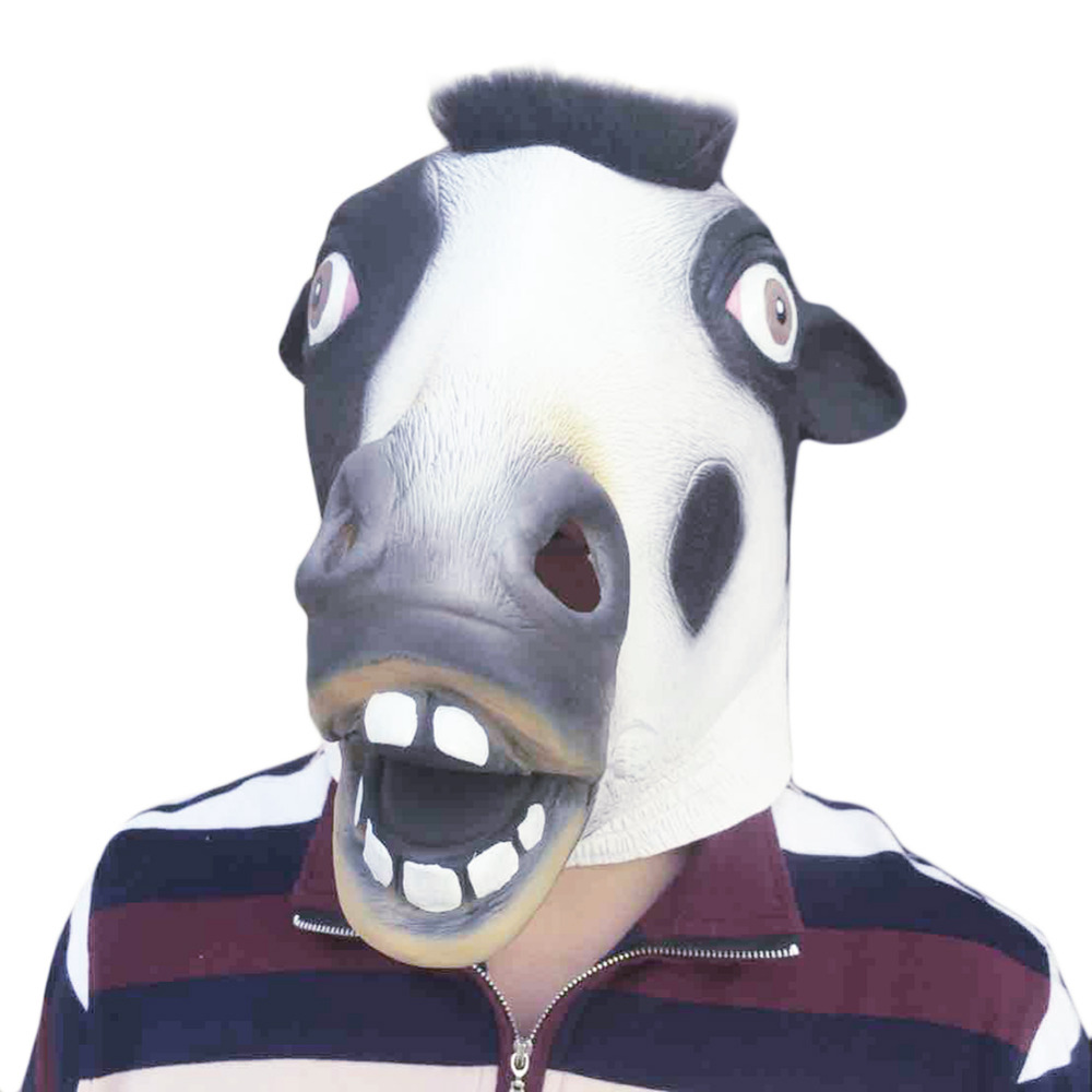 Full Face Halloween Animal Head Adults Mask Cute Cow Latex Mask For Cosplay Good Quality Funny Breathable Fancy Dress Party Mask(China (Mainland))