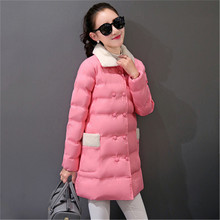 Lamb wool collar winter women cotton padded jacket long sections Slim thick coat female wadded parka women winter clothing TT258