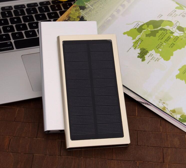 Newest Solar Power Bank 10000mAh dual usb Solar Powerbank slim Mobile Phone Battery sun Charger Pack with LED For all Cellphone(China (Mainland))