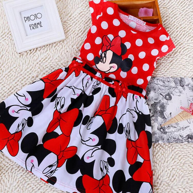 2015 New Arrival Summer Style Girl Dresses Disney Cartoon Micky Print Baby Girl Dresses Vestidos Infantis Menina Clothes Ty352(China (Mainland))