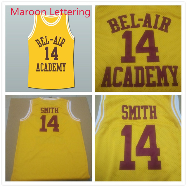 Will Smith Basketball Jersey, 14 Will Smith Fresh Prince Jersey, Bel Air Academy Jersey, Carlton Banks Stitched Maroon Letters(China (Mainland))