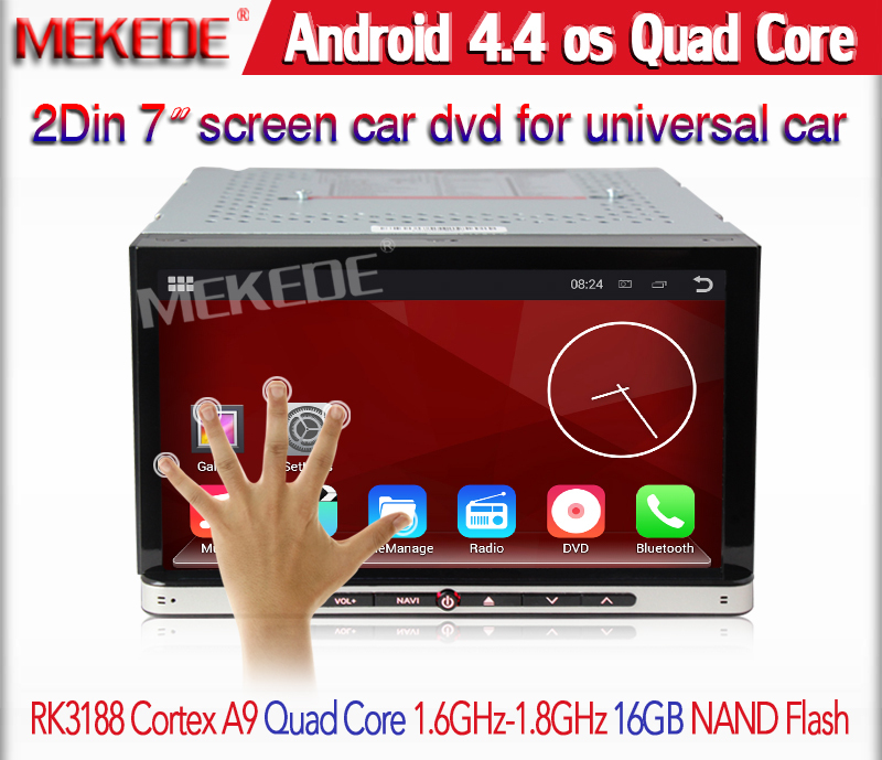 Quad core 1024*600 resolution 2din Car dvd player for universal car GPS navigation radio stereo Android 4.4.4 free 8GB map card(China (Mainland))
