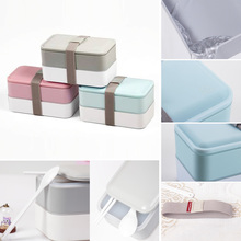 1200ml Classic Lunch Box Double-layer Bento Box Dinnerware Food Container Set with Chopsticks Spoon for Adults Children(China (Mainland))